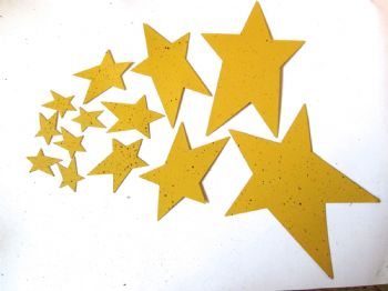 YELLOW Painted metal Stars Choice of size